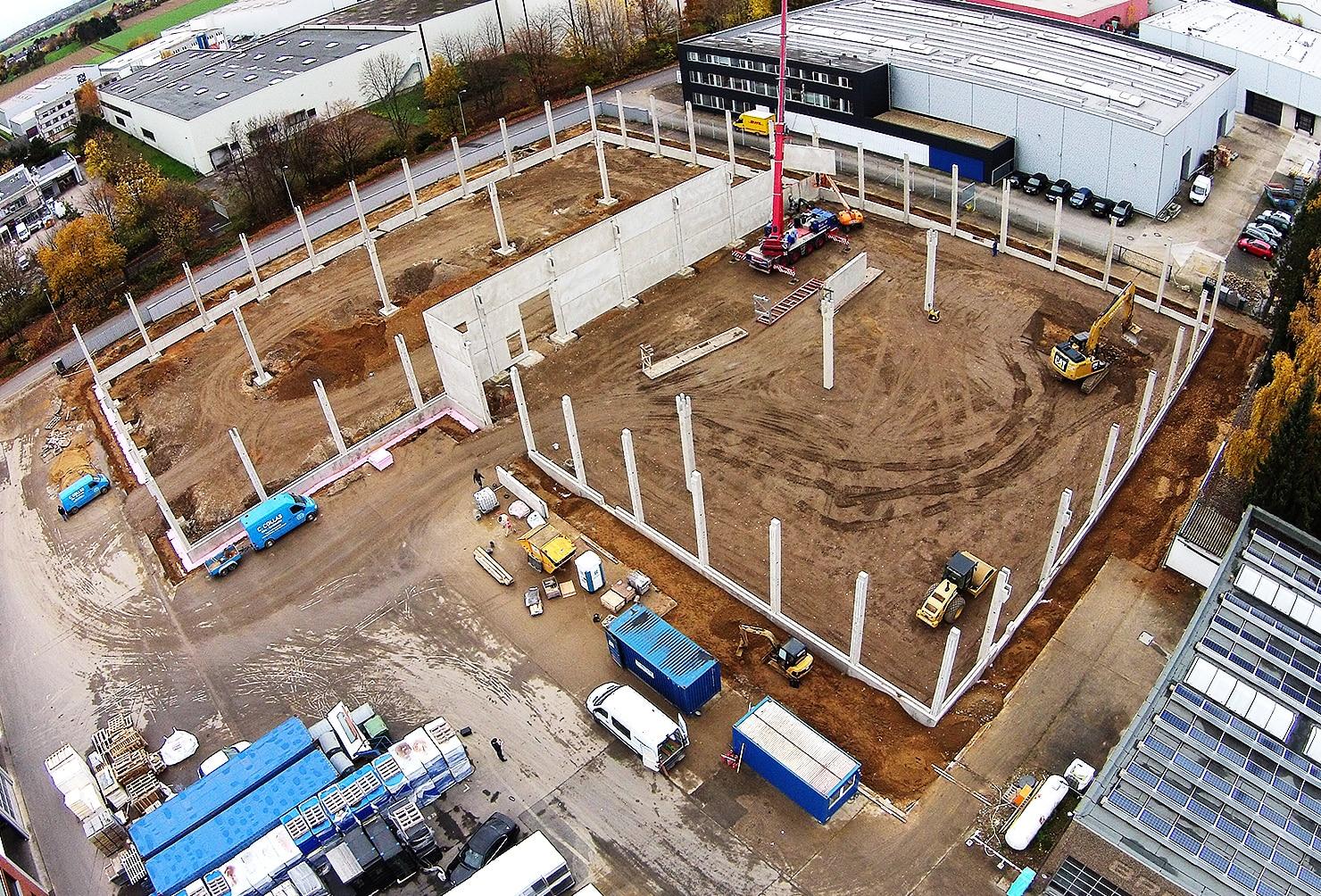 Auf der Baustelle einer neuen Halle